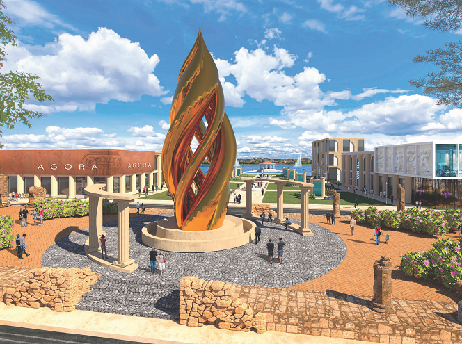 Olympus Town Center Concept, a large bronze flame in the middle of a courtyard surrounded my shops and people