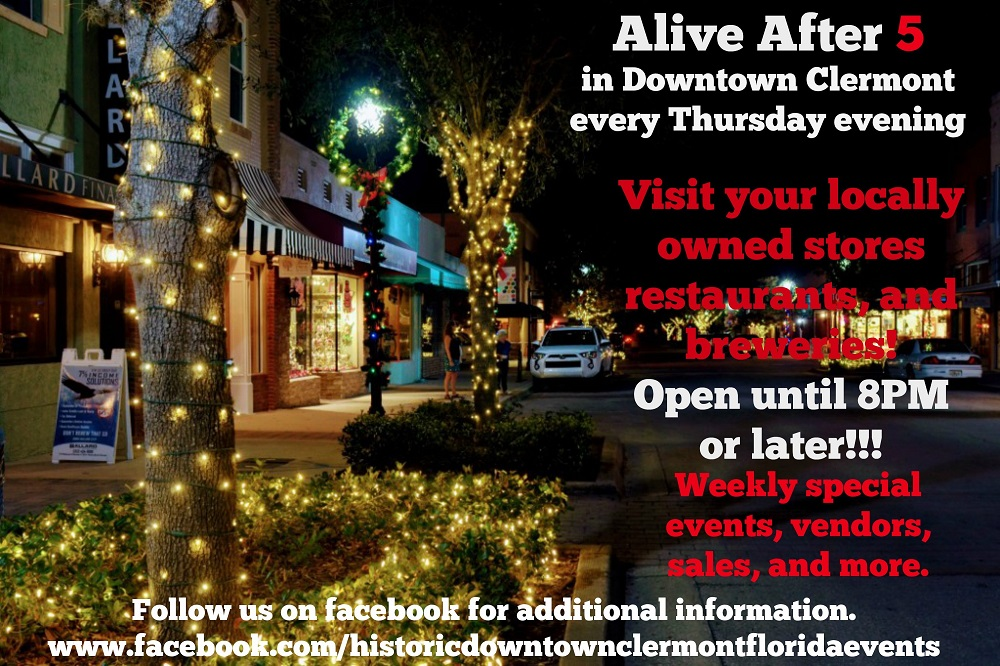 Flyer with photo of downtown clermont at night with string lights on trees, with text describing details of Alive After 5 in Downtown Clermont on Thursdays