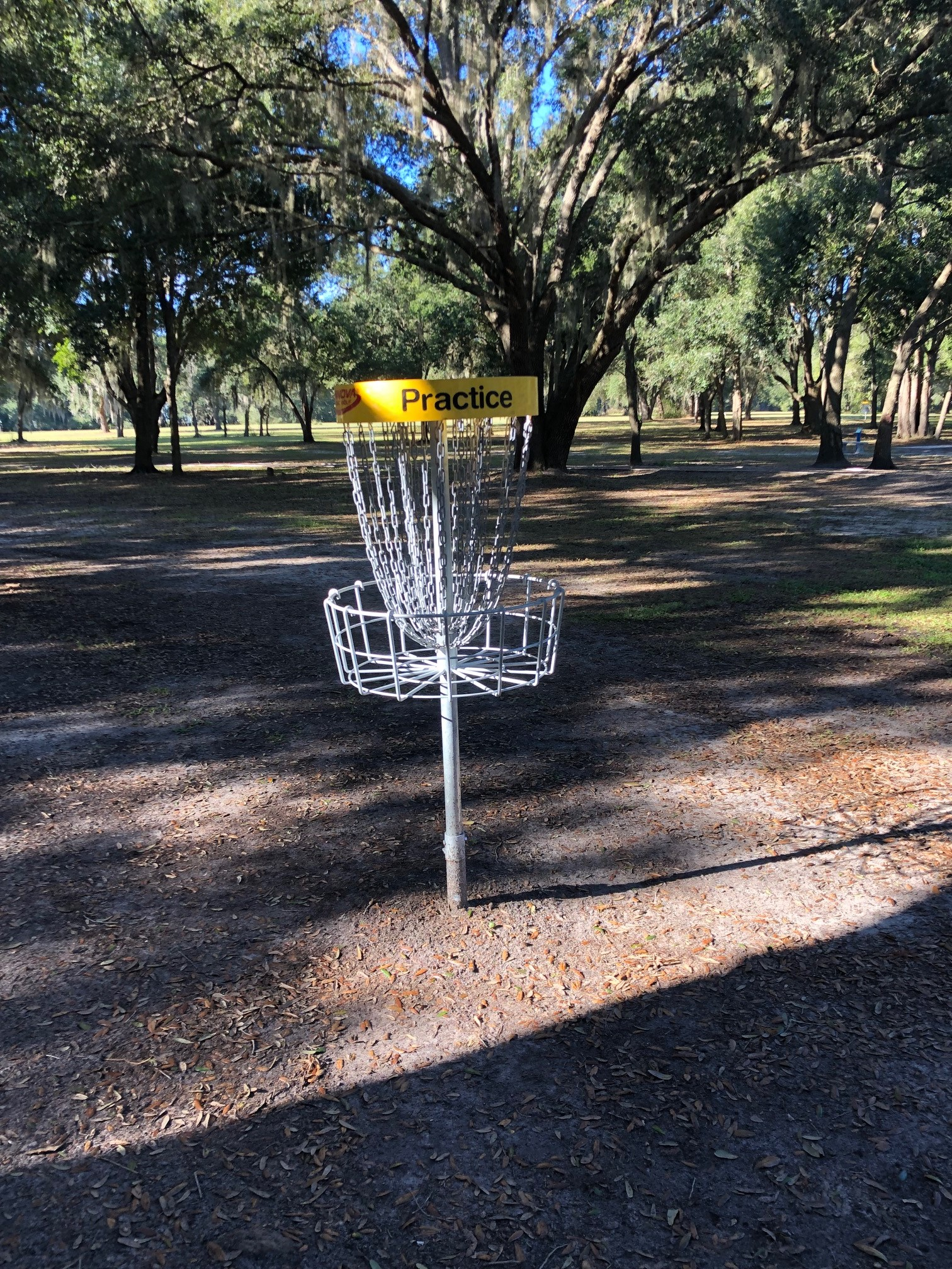 Disc golf practice basket on Clermont course
