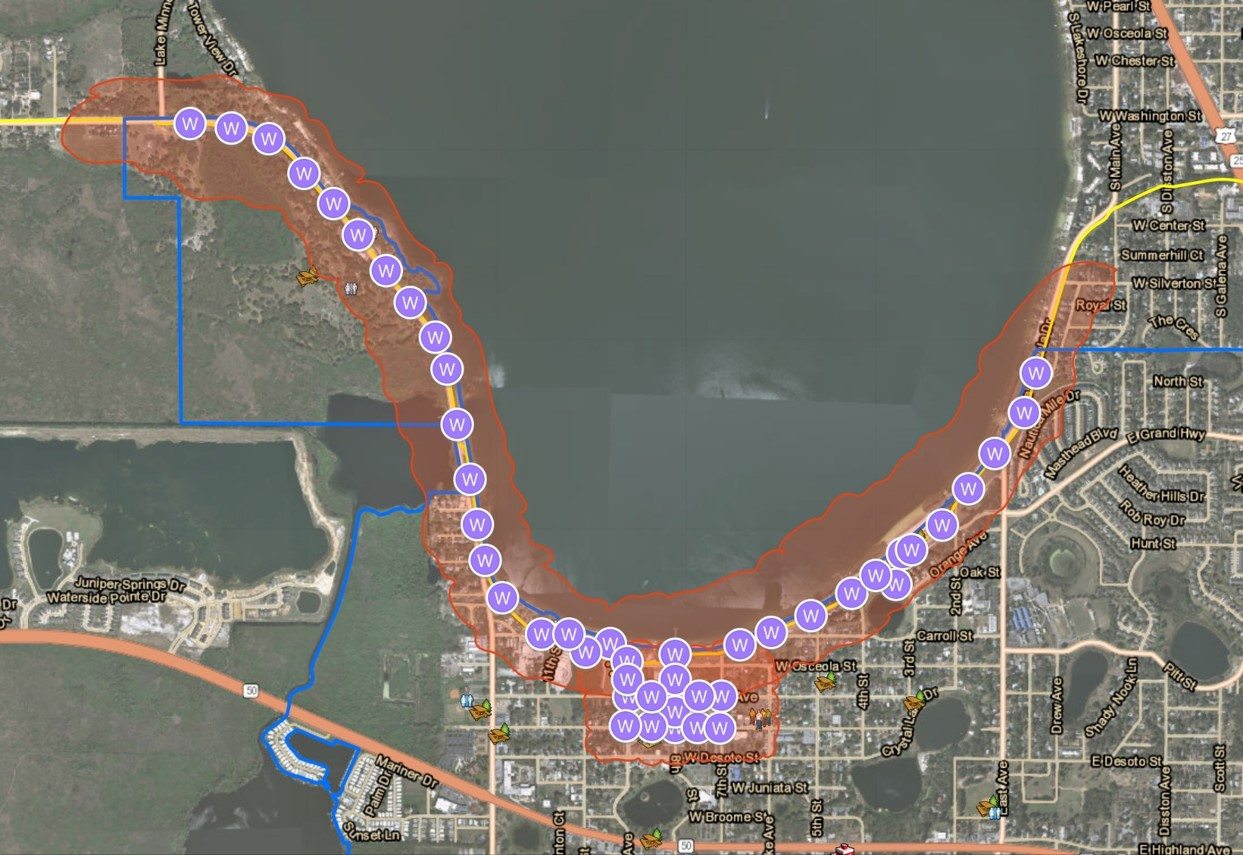 Map of Wi-Fi coverage area along Lake Minneola and Downtown