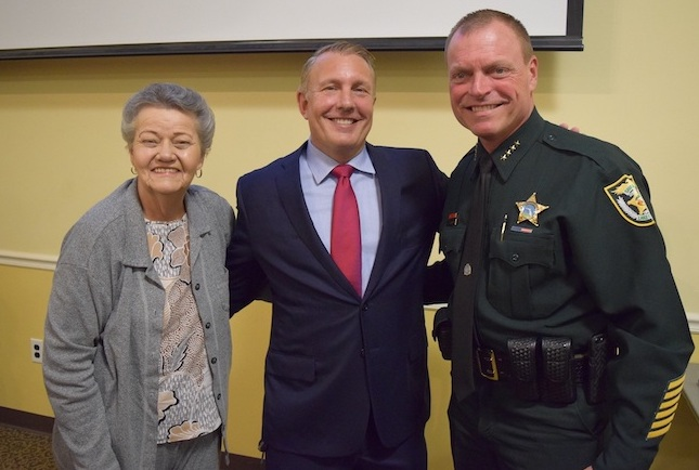 Clermont Mayor Gail Ash, Clermont City Manager Darren Gray and Lake County Sheriff Peyton Grinnell
