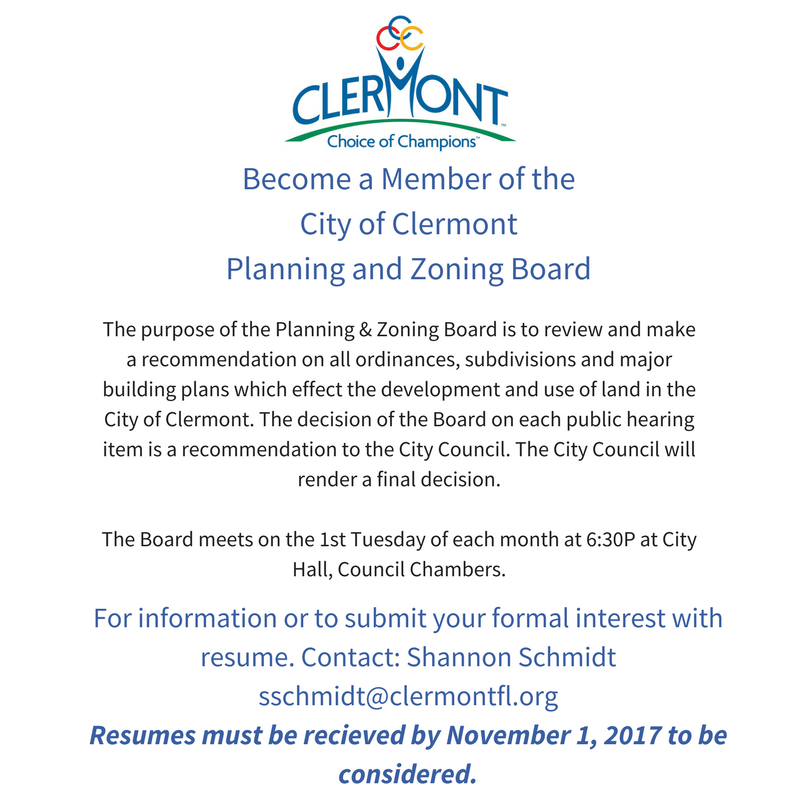 Become a Member of the City of Clermont Planning and Zoning Board