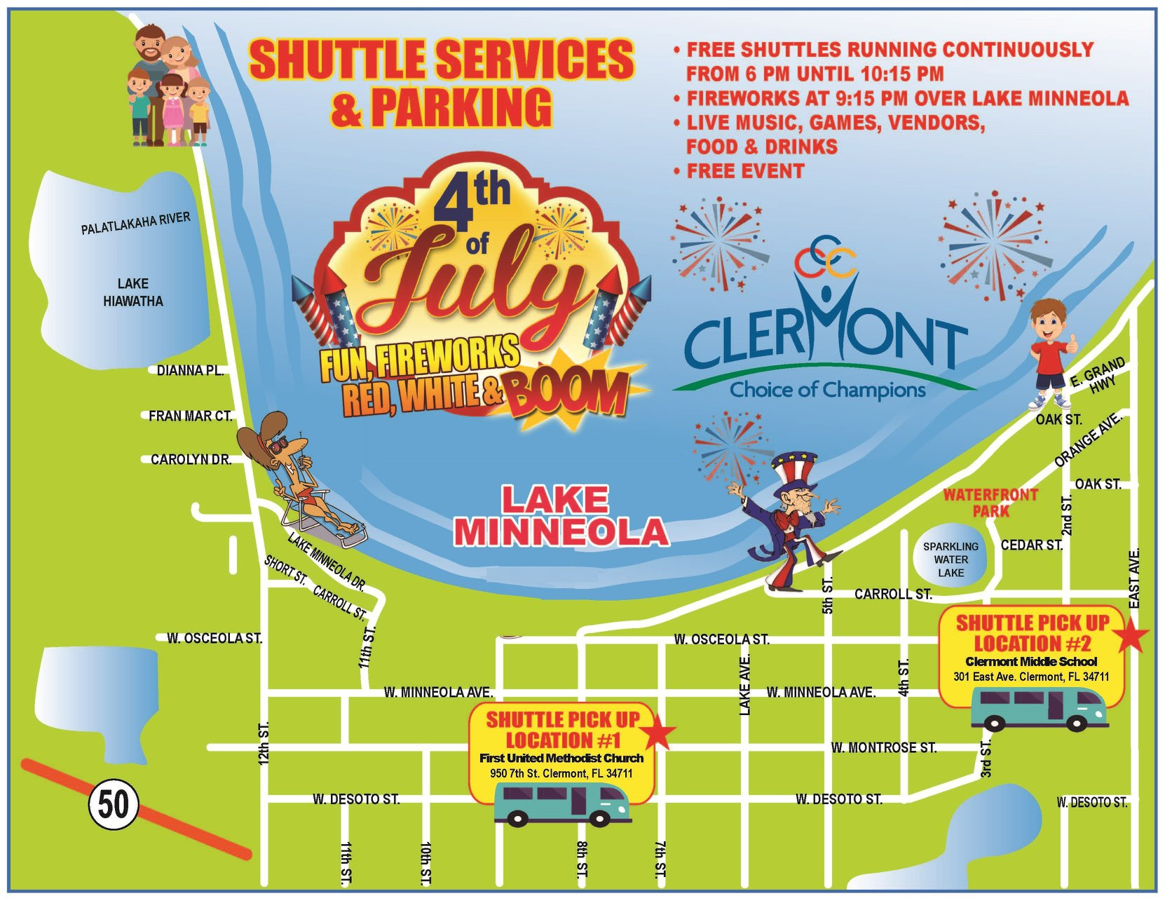 shuttle map showing pickup and dropoff locations in Downtown Clermont for the July 4, 2019 event