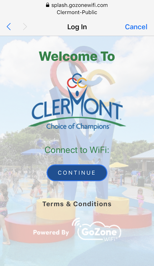 Screenshot of phone view of Wi-Fi login page