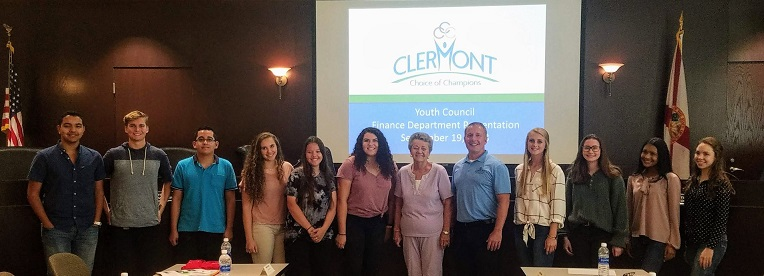 Youth Council members recently met for the first time. Pictured from left to right: Kristopher Ganesh, Aaron Curlee, Luis Mustafa, Camille Eldridge, Mary Landaberde, Megan Yurchick, Mayor Gail Ash, City Manager Darren Gray, Bailey Bates, Emma Gaskins Kaylee Sakur and Tyler Irby.