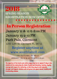 2018 South Lake Little League Registration